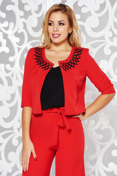 StarShinerS red elegant bolero jacket with straight cut slightly elastic fabric with embroidery details