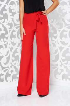 StarShinerS elegant accessorized with tied waistband red trousers slightly elastic fabric high waisted flared