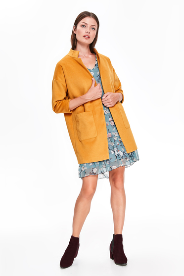 Top Secret yellow casual coat with straight cut with pockets