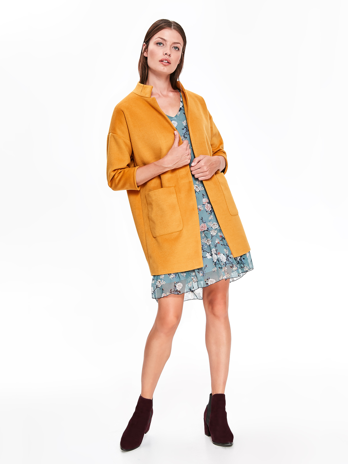 Palton Top Secret galben casual cu un croi drept cu buzunare