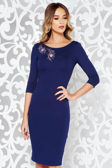 StarShinerS blue dress elegant pencil embroidered flexible thin fabric/cloth with 3/4 sleeves