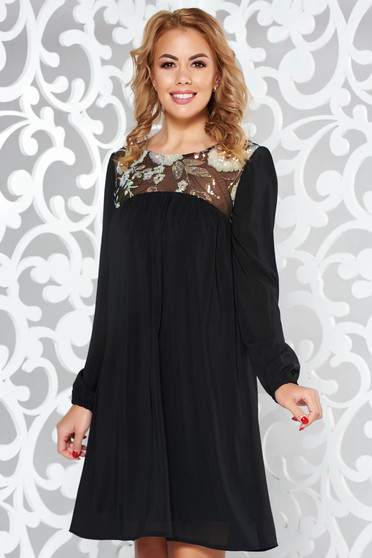 StarShinerS black dress occasional flared voile fabric with inside lining