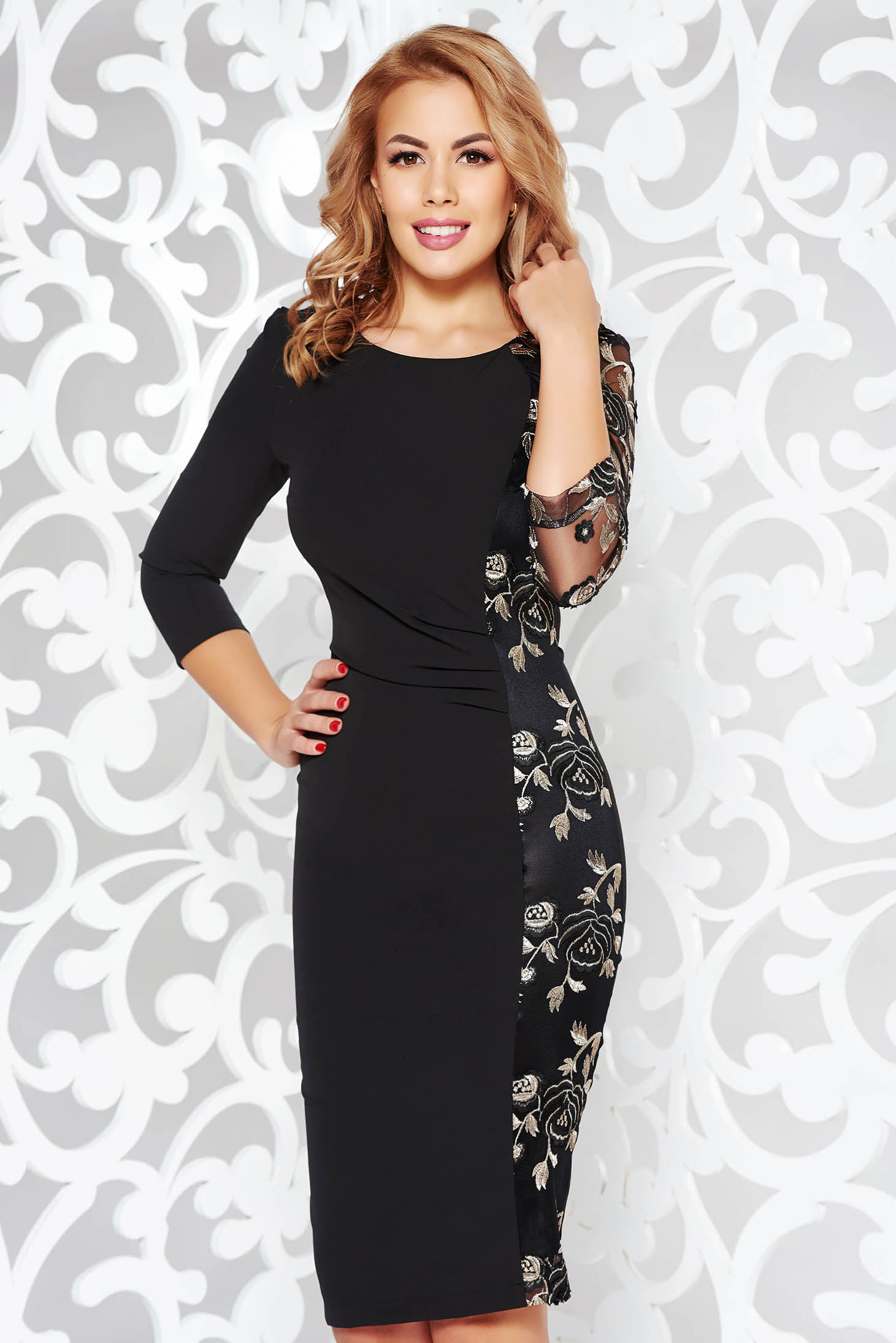 StarShinerS black dress occasional pencil slightly elastic fabric with net accessory embroidered