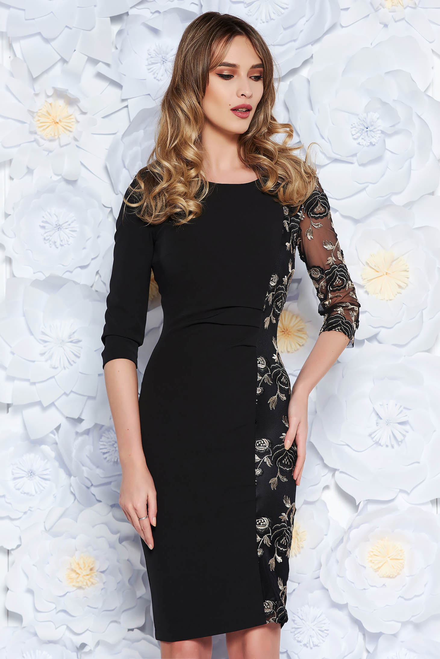 StarShinerS black occasional embroidered pencil dress slightly elastic fabric with net accessory
