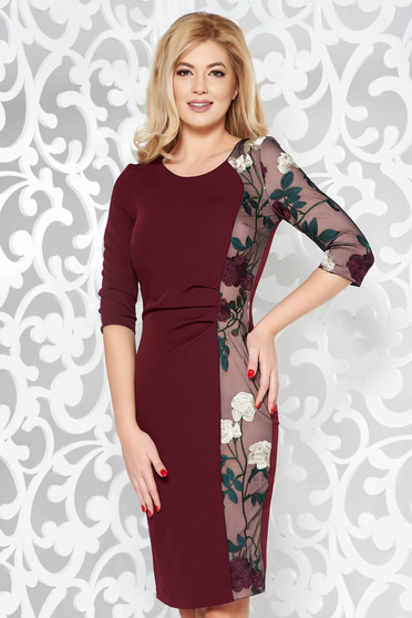 StarShinerS burgundy dress elegant pencil slightly elastic fabric with embroidery details
