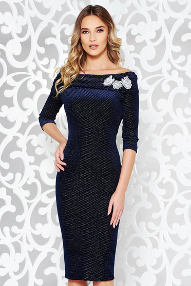 StarShinerS darkblue occasional velvet pencil dress embroidered off shoulder with lame thread