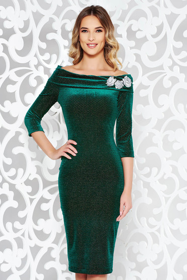 StarShinerS green occasional velvet pencil dress embroidered off shoulder with lame thread