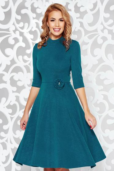 StarShinerS turquoise dress elegant cloche shimmery metallic fabric knitted fabric