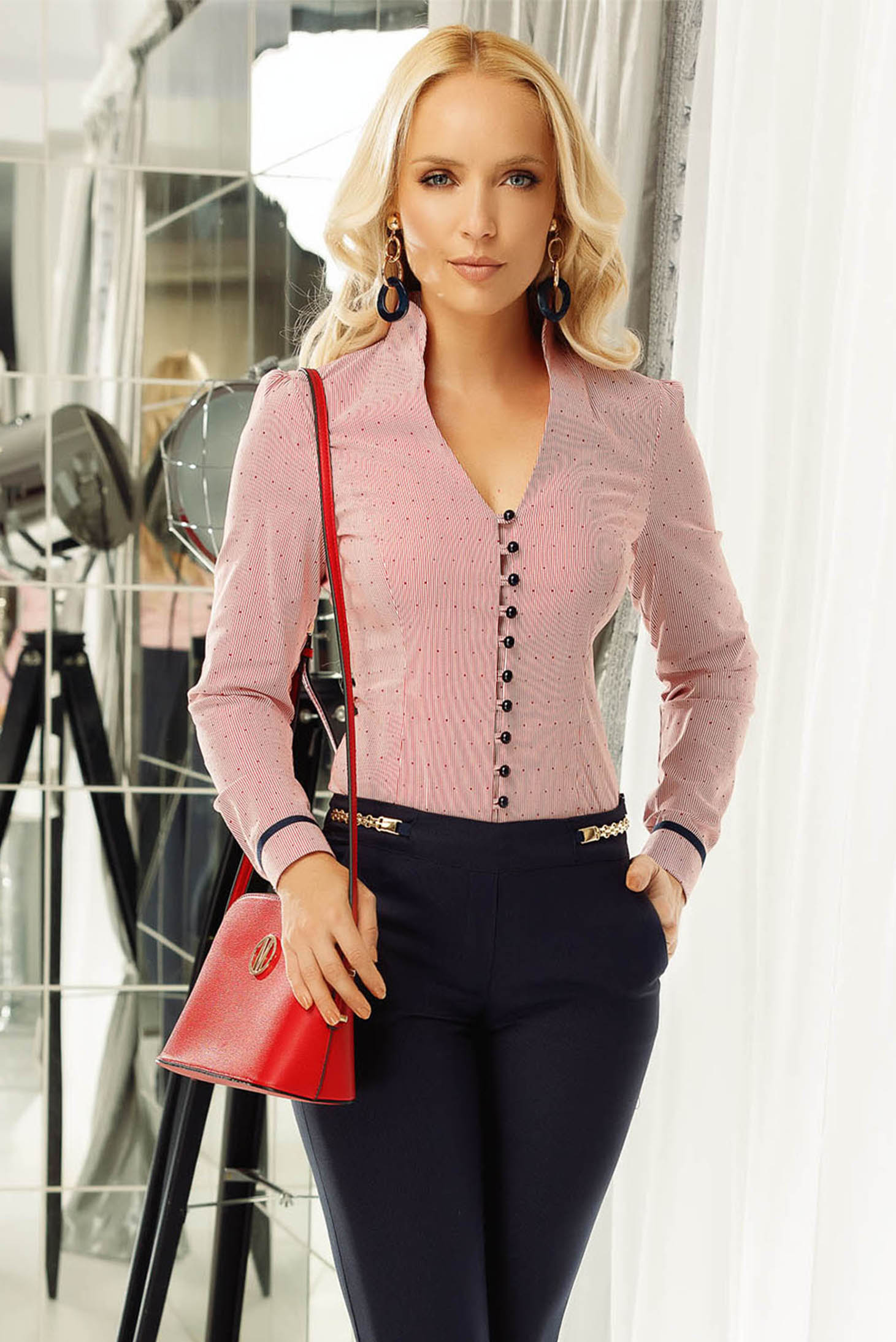 Fofy red office women`s shirt slightly elastic cotton with tented cut with v-neckline