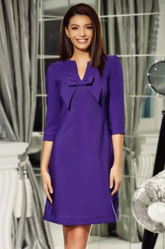 Fofy purple elegant a-line dress from non elastic fabric with v-neckline bow accessory