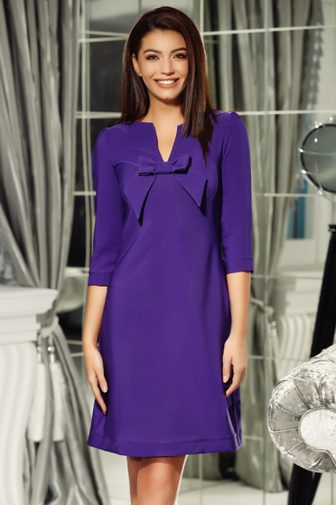 Fofy purple dress elegant a-line from non elastic fabric with v-neckline bow accessory