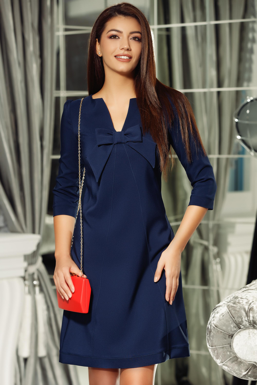 Rochie Fofy albastra-inchis eleganta din stofa neelastica cu decolteu in v accesorizata cu o fundita