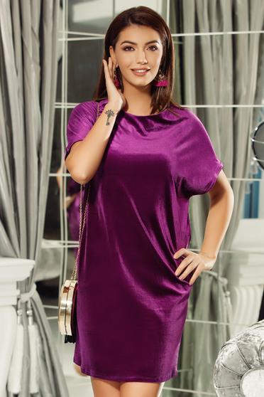 Fofy purple dress elegant flared velvet with cut back