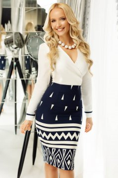 Fofy darkblue office midi pencil skirt slightly elastic fabric high waisted
