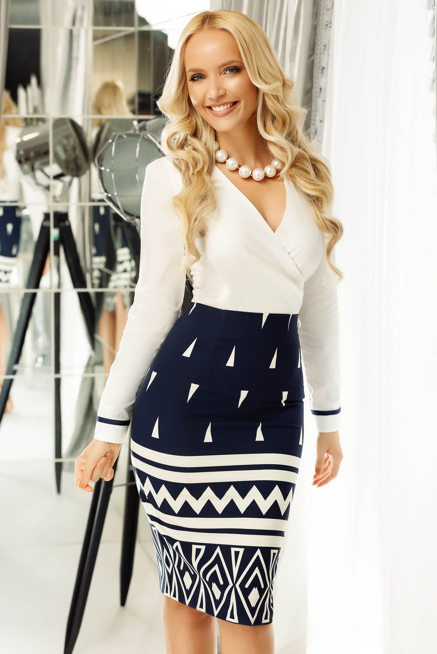 Fofy darkblue office midi pencil skirt slightly elastic fabric high waisted