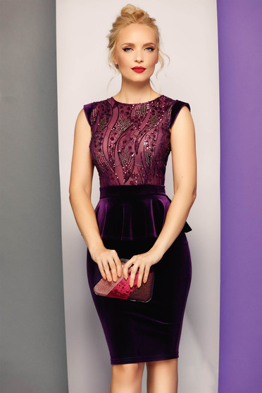Fofy purple dress velvet occasional pencil frilled with sequin embellished details