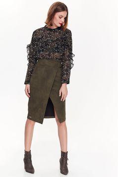 Top Secret green casual high waisted skirt from velvet fabric