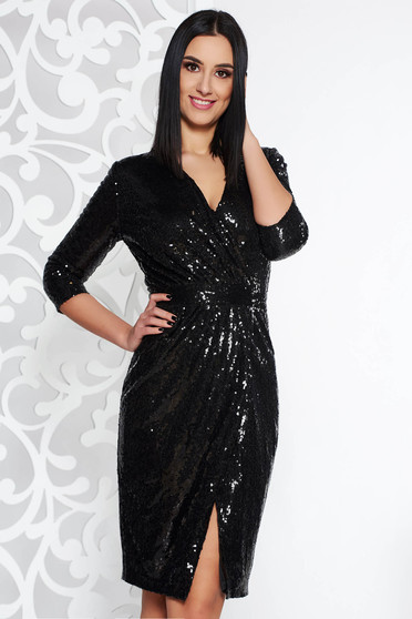 StarShinerS black occasional midi dress with sequins with v-neckline with 3/4 sleeves
