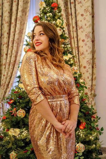 StarShinerS gold occasional midi dress with sequins with v-neckline with 3/4 sleeves