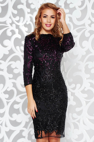 StarShinerS purple dress occasional from laced fabric with sequin embellished details with inside lining with 3/4 sleeves