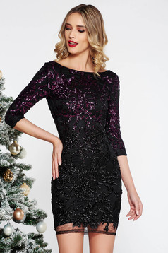 StarShinerS purple occasional from laced fabric dress with sequin embellished details with inside lining with 3/4 sleeves