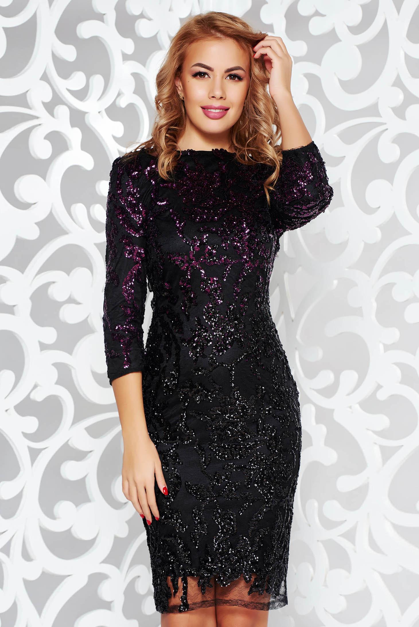 Lila StarShinerS alkalmi ruha csipkés anyag flitteres díszítés belső béléssel háromnegyedes ujjú