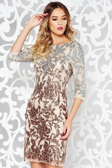 StarShinerS rosa dress occasional from laced fabric with sequin embellished details with inside lining with 3/4 sleeves