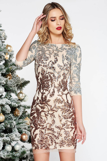 StarShinerS rosa occasional from laced fabric dress with sequin embellished details with inside lining with 3/4 sleeves