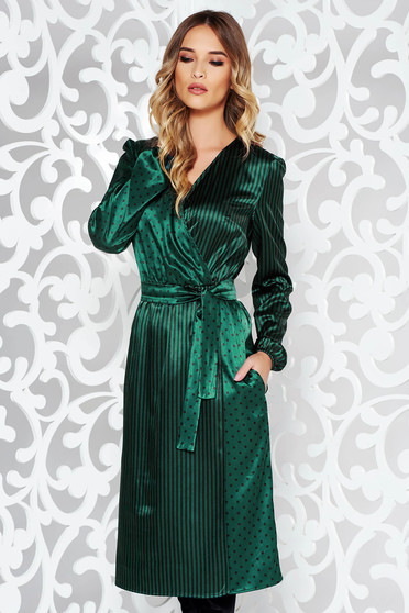StarShinerS green dress elegant midi from satin fabric texture accessorized with tied waistband wrap around