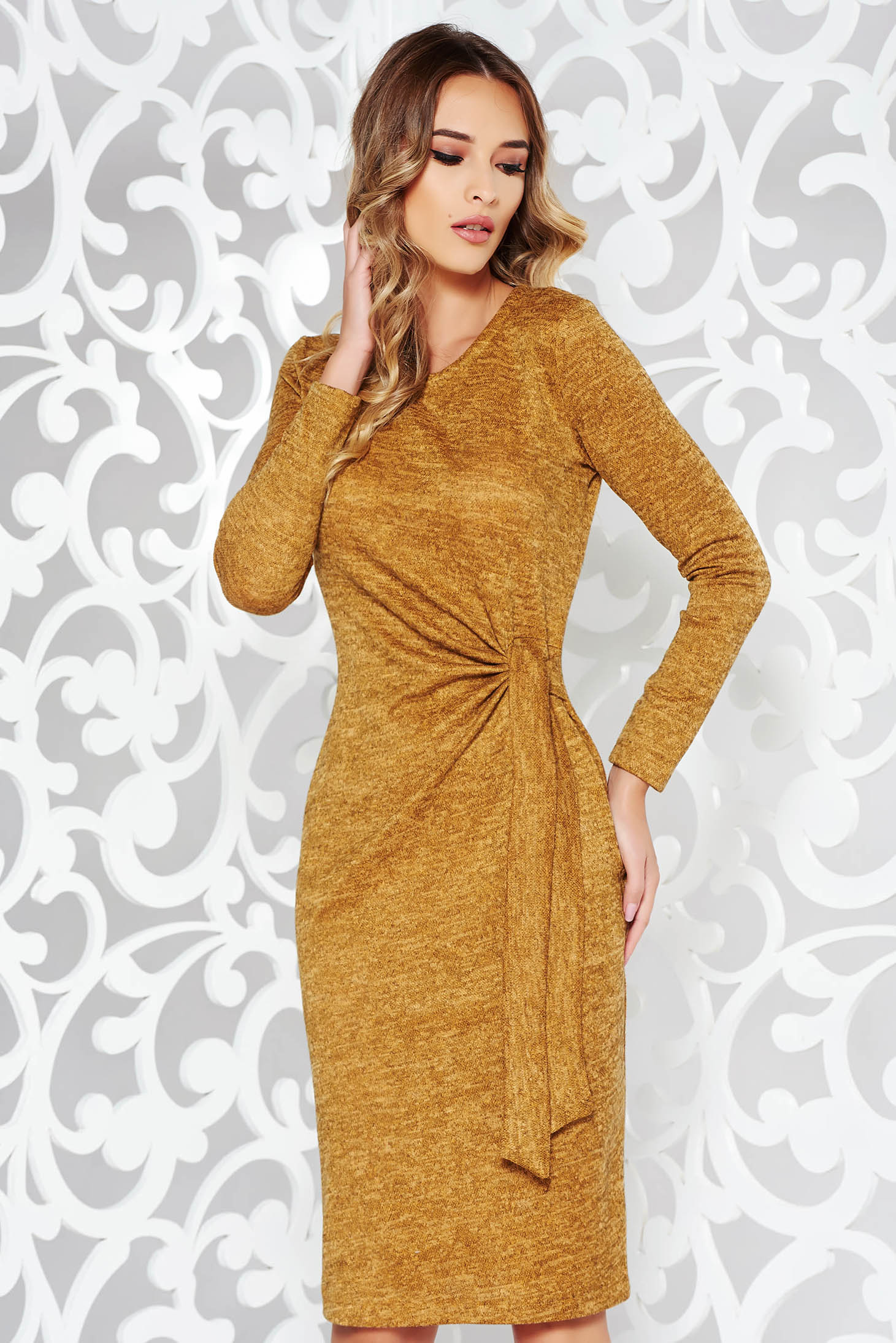 StarShinerS mustard dress daily knitted fabric with tented cut long sleeved