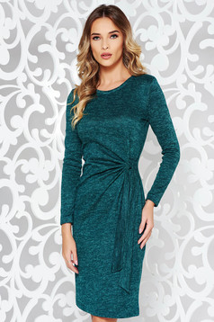 StarShinerS green dress daily knitted fabric with tented cut long sleeved