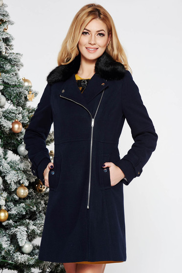 Darkblue casual coat from thick fabric arched cut fur collar