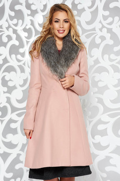Rosa elegant coat long sleeve cloth arched cut fur collar