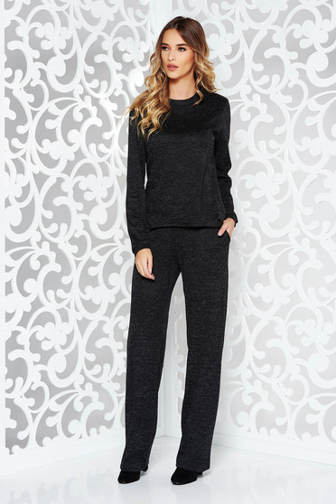 StarShinerS black lady set casual knitted fabric with easy cut with pockets