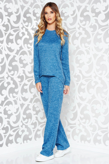 StarShinerS blue lady set casual knitted fabric with easy cut with pockets