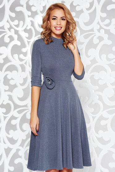 StarShinerS darkblue dress elegant cloche shimmery metallic fabric knitted fabric