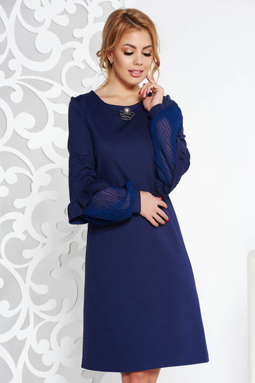 StarShinerS darkblue elegant flared dress slightly elastic fabric accessorized with breastpin