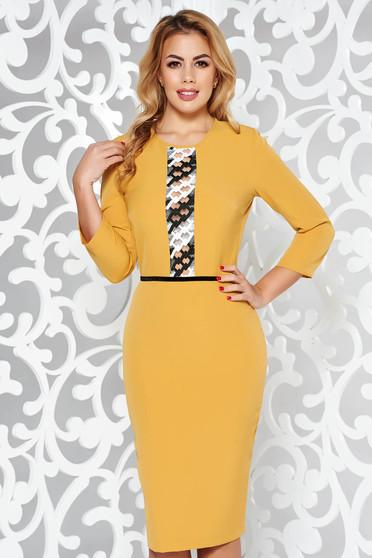 StarShinerS mustard elegant pencil dress 3/4 sleeve slightly elastic fabric front embroidery