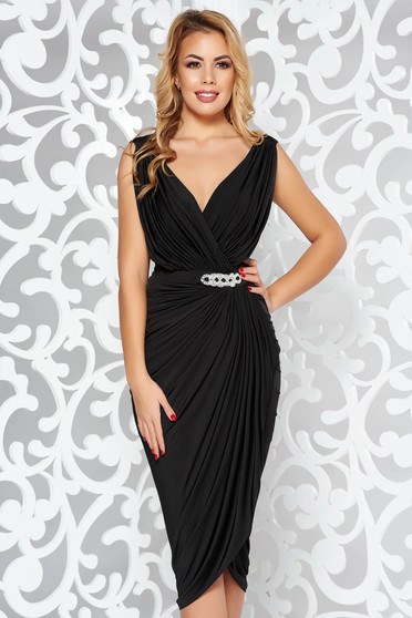 Black dress occasional wrap around with embellished accessories with tented cut thin fabric