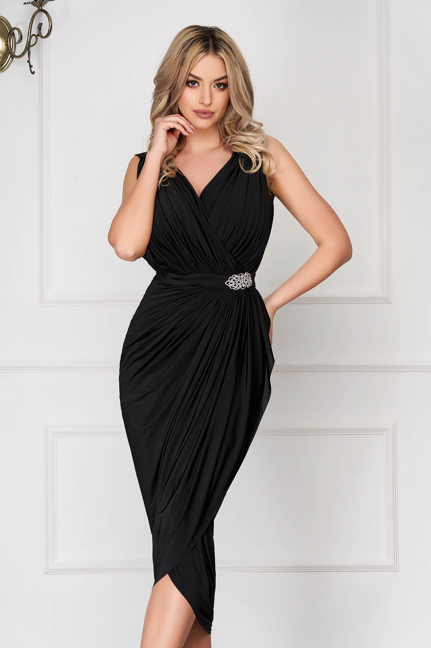Black occasional wrap around dress with embellished accessories with tented cut thin fabric