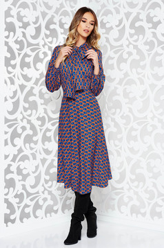 Bricky casual cloche dress from satin fabric texture with graphic print