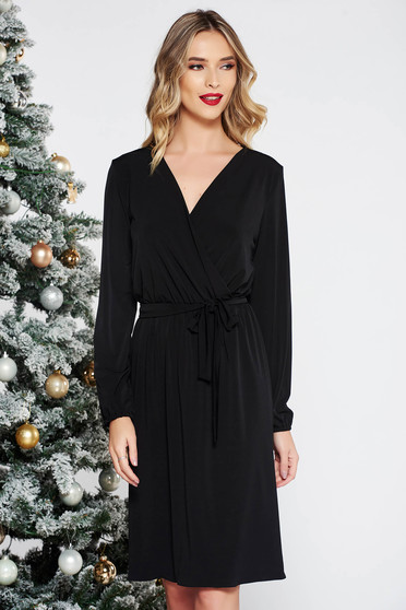 StarShinerS black elegant dress soft fabric with elastic waist accessorized with tied waistband