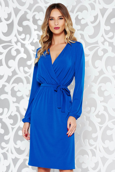 StarShinerS blue elegant dress soft fabric with elastic waist accessorized with tied waistband