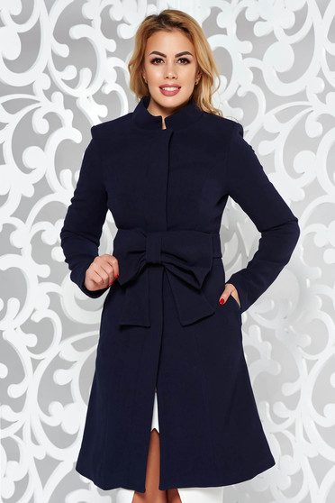 Artista darkblue coat elegant cloche with inside lining accessorized with tied waistband with bow