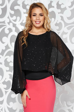 StarShinerS black elegant women`s blouse with tented cut voile overlay with bright details