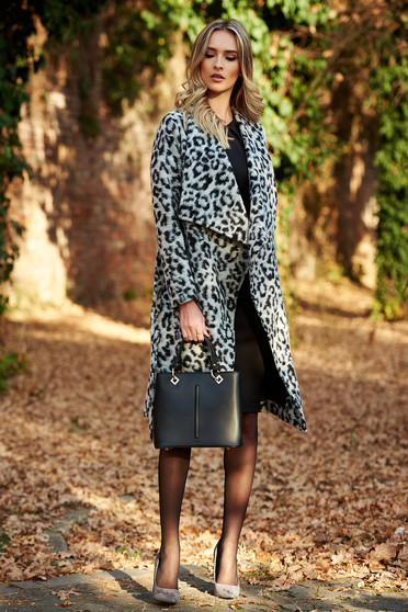 StarShinerS grey flared coat long sleeved from thick fabric animal print