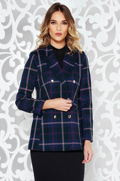 StarShinerS darkblue tented jacket with inside lining from non elastic fabric plaid fabric