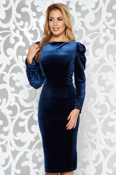 StarShinerS darkblue occasional pencil dress from velvet fabric with cut back