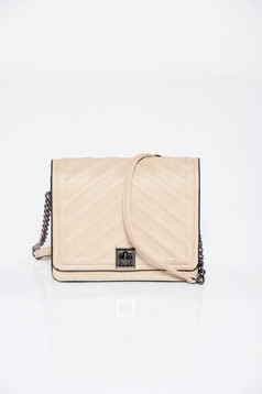 Cream bag casual from ecological leather long chain handle