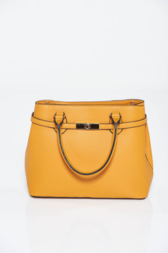 Mustard bag office from ecological leather with metalic accessory